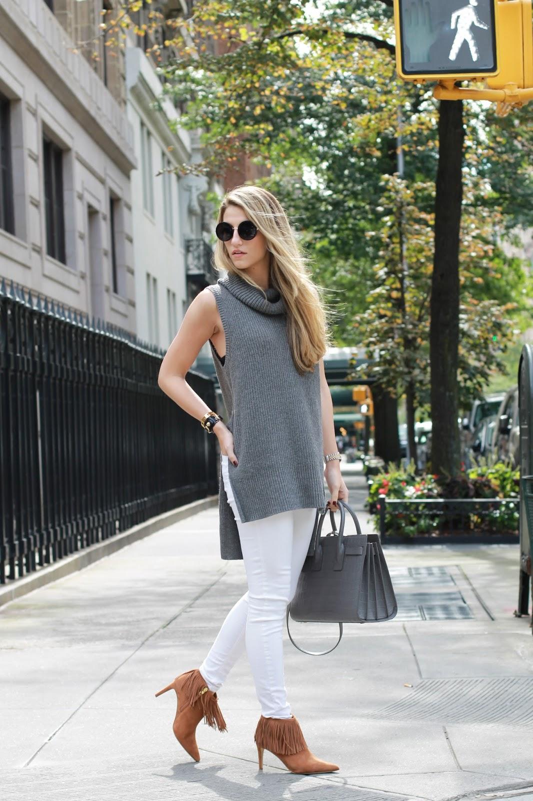side slit sleeveless sweater forever21, fringe boots