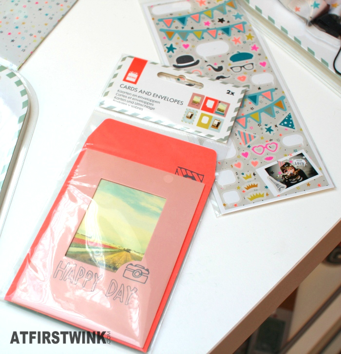HEMA instax mini picture card and envelope, €2  HEMA instax mini picture stickers (2 sheets), €1