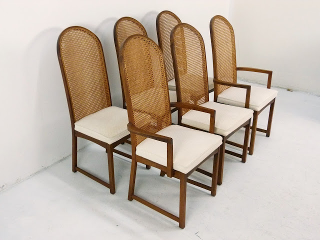 Milo Baughman Directional Cane Dining Chairs