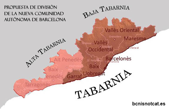 Propuesta de división administrativa de la nueva comunidad autónoma de Barcelona
