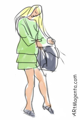 Cell phone calling from handbag is a gesture drawing by artist and illustrator Artmagenta drawn on an iphone