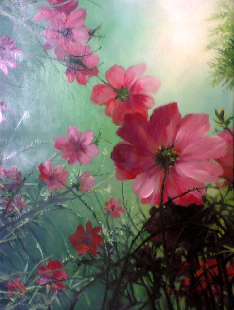 lukisan bunga kert...
