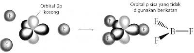 Pembentukan ikatan dalam BF3.