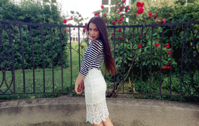 Black and white striped top, Lace midi skirt outfit long hair rasa virviciute aimerose