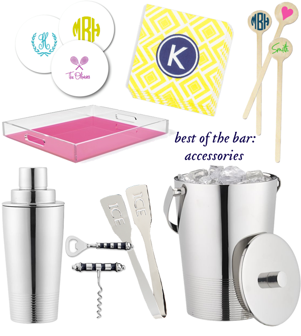 monogrammed bar accessories