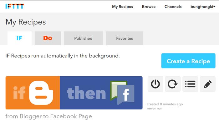 Postingan oromatis tampil di berbagai media social dan bookmarking menggunakan ifttt.com