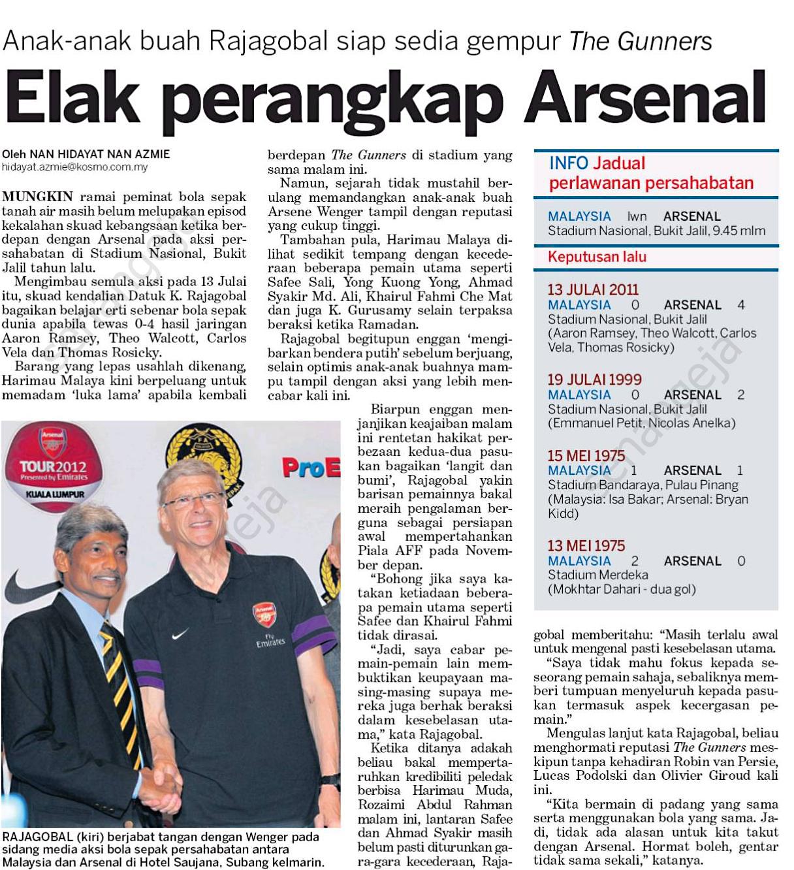 Arsenal lawan malaysia 24 julai 2012