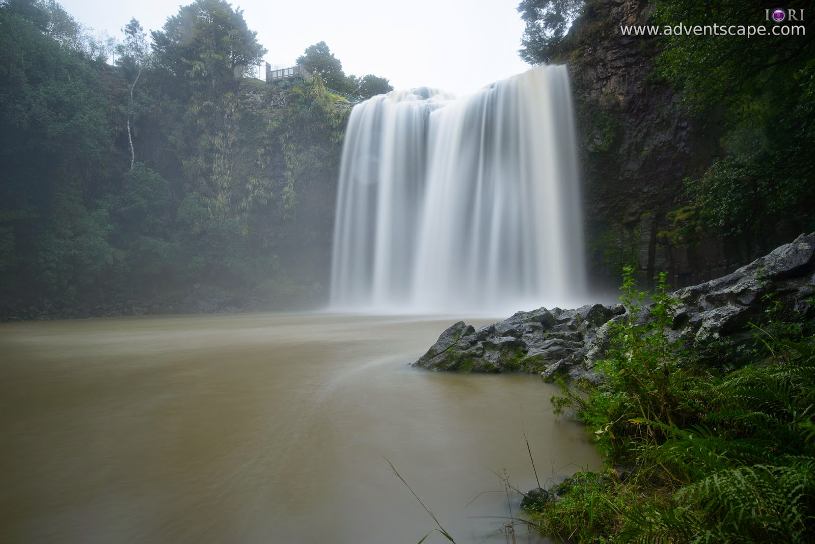 Philip Avellana, adventscape, iori, Whangarei falls, waterfalls, North Island, New Zealand, travel, tour, places to visit, landscape, nature photos, bridge, camera right, fall's bed