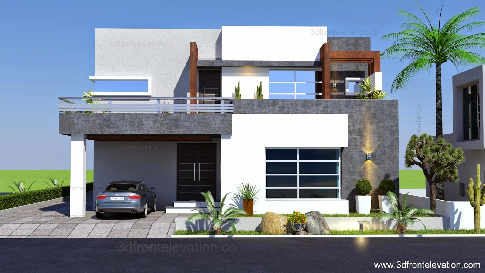 D Front Elevation Of House : D front elevation kanal contemporary house plan