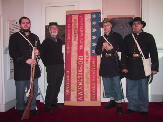 Civil War flags with Battle honors, 120th NY regimental, art conservation historic flags and textiles