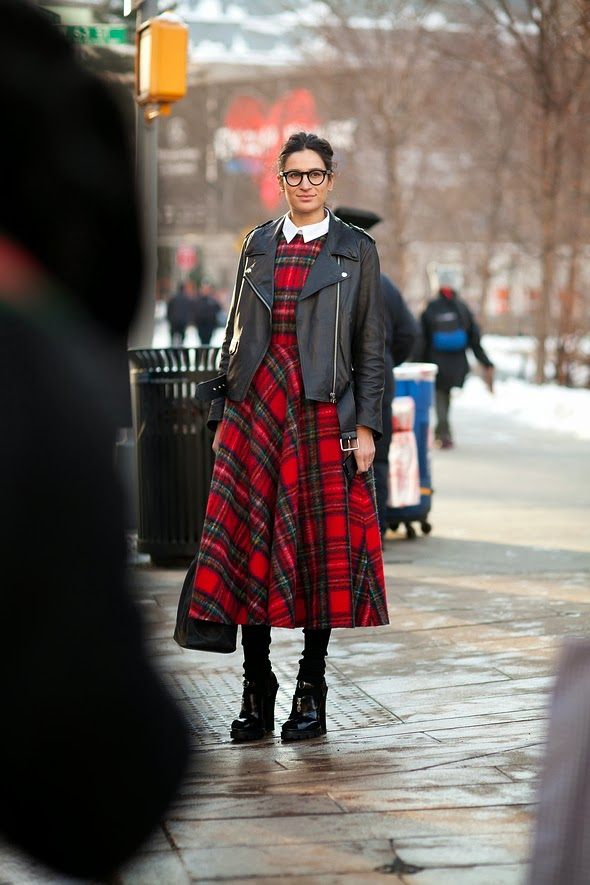leather jacket womens leather jacket tartan dress black boot heels dark frame glasses on girls womens street style womens fashion new york street style winter fashion