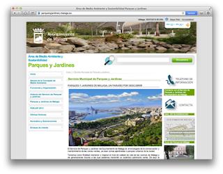 Web de Parques y Jardines de la Ciudad de Málaga