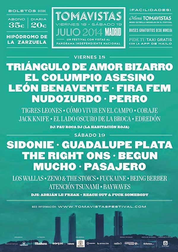 Cartel Festival Tomavistas Madrid horarios