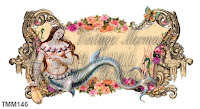 edwardian mermaid playing a harp on mermaid fabric block by vintagemermaidsfabricblocks.com