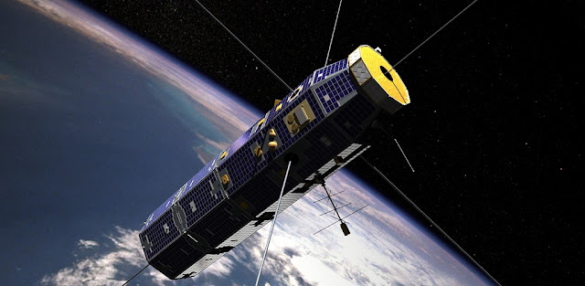 The U.S. Air Force Communication/Navigation Outage Forecasting System re-entered Earth's atmosphere on Nov. 28, 2015, after a more than seven-year mission. Observations during its last year will help scientists better predict orbital decay. Credits: NASA's Goddard Space Flight Center