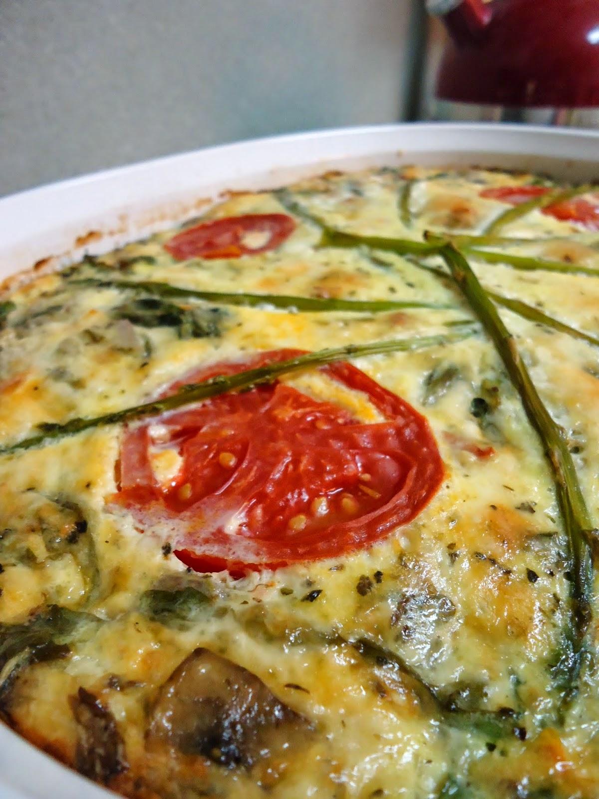 Crustless Asparagus, Mushroom, & Tomato Quiche..