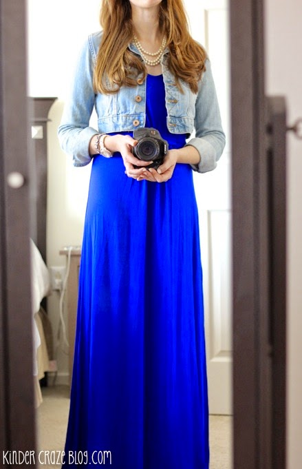 gorgeous blue maxi dress with denim and pearls #StitchFix