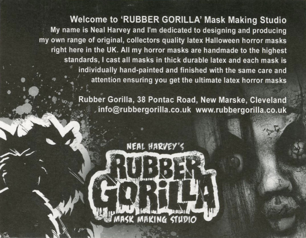 Rubber Gorilla Post Card | Blood Curdling Blog of Monster Masks