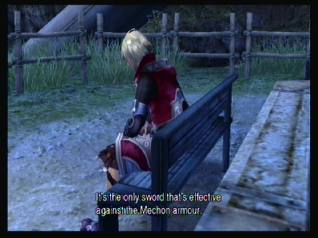 Shulk sits on a bench talking quietly to himself: 'It's the only sword that's effective against the Mechon armour'