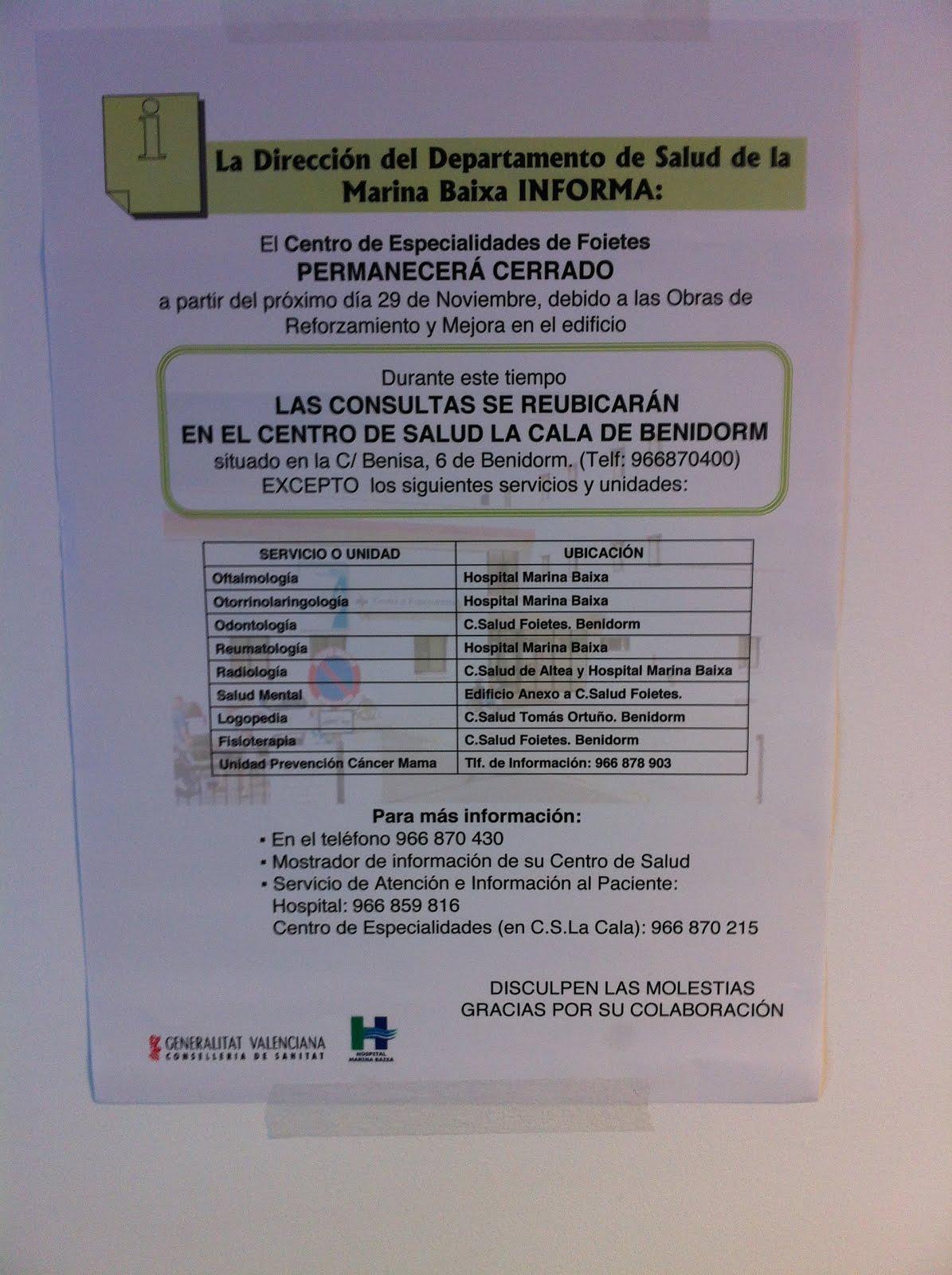 A PARTIR DEL 29/11/2013, LOS PACIENTES DE RELLEU