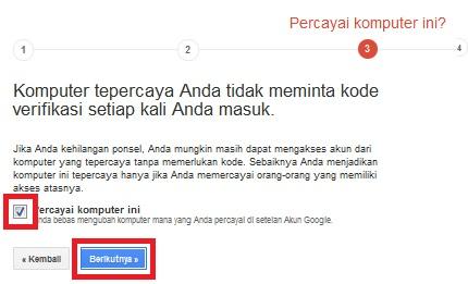 Tandai bahwa Google boleh mempercayai komputer anda