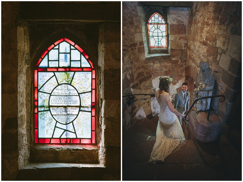 Bride and groom on staircase at St Nicholas Priory