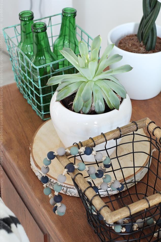 Sukkulente neben Gitterkorb mit Flaschen in grün