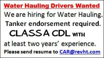 CDL Water Truck Drivers Wanted
