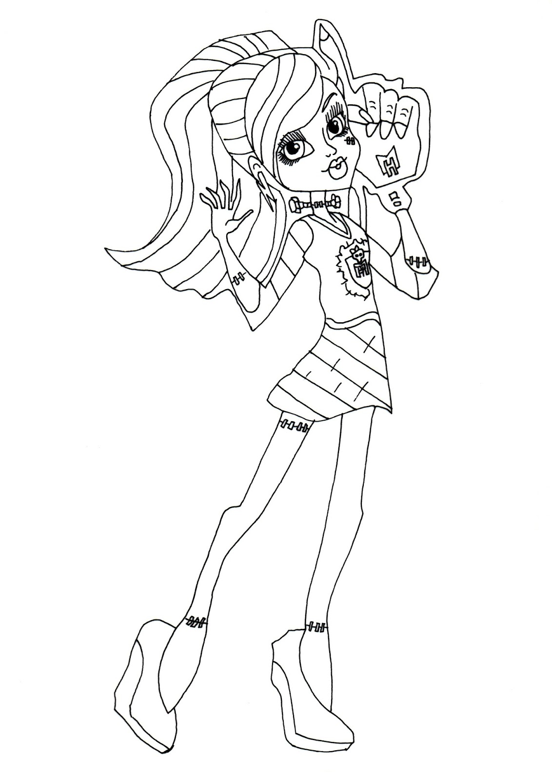 free printable monster high coloring pages frankie stein ghouls
