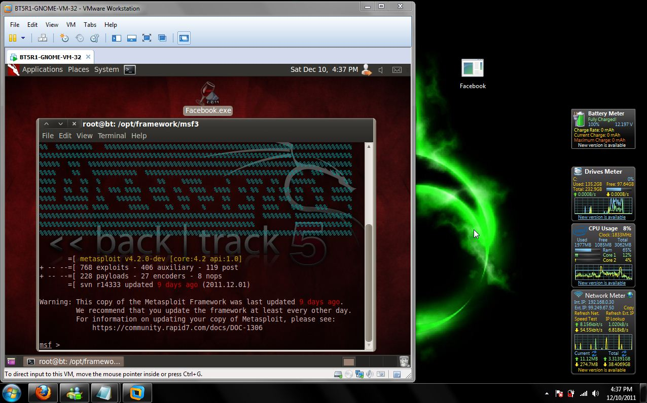 Exploiting Windows 7 with Metasploit/BackTrack 5.