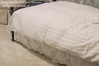 Battenberg lace shelf liner bed skirt