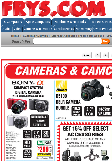 sony nex-3 discount deal frys