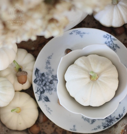 Tarnished Royalty-White Pumpkins- Blue Transferware-Treasure Hunt Thursday- From My Front Porch To Yours