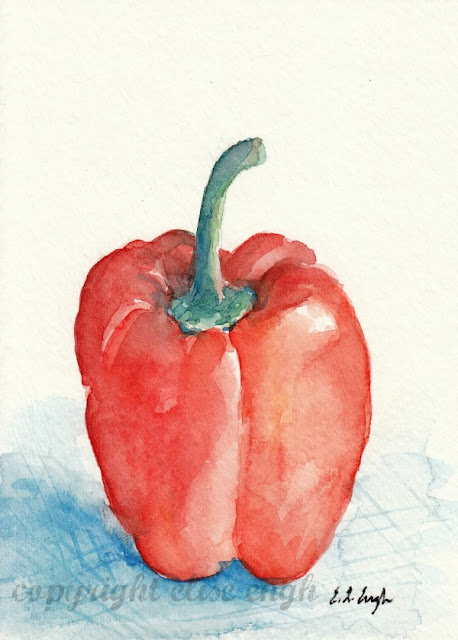 red bell pepper watercolor painting
