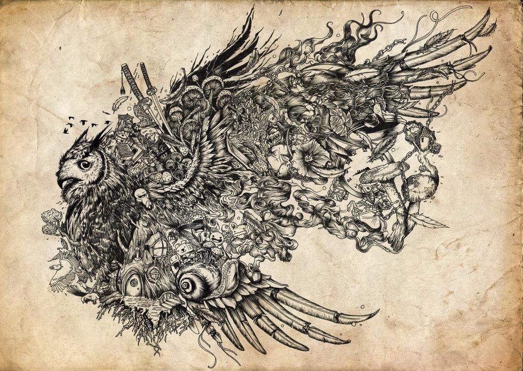 18-Night-Owl-Joseph-Catimbang-Pentasticarts-Metaphysical-and-Surreal-Doodle-Drawings-www-designstack-co