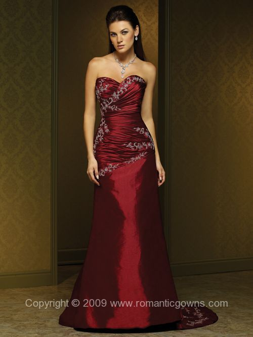 beautiful romantic red wedding gown with strapless a line taffeta gown ...