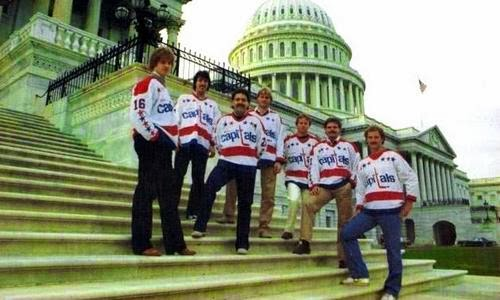 The Caps periodically took team photos at the U.S. Capitol