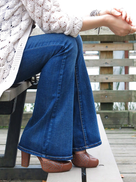flare jeans, grandpa cardigan, and Miz Mooz shoes
