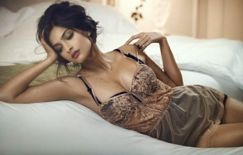sonam kapoor on bed in lingerie hot gq photoshoot pics 2014