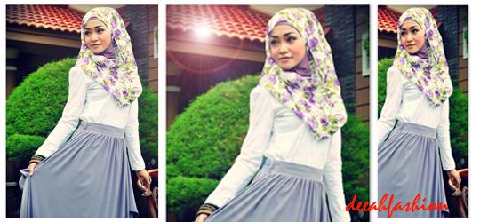 Tips Fashion Jilbab Motif Bunga Flowery Chic