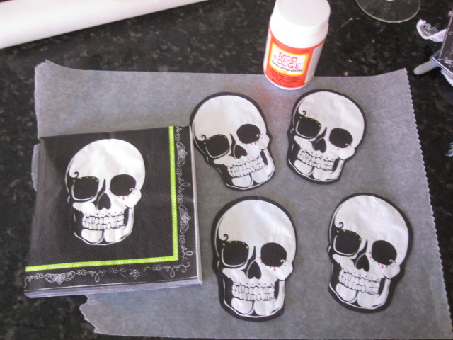 Skull Plates. For all the Instructions visit out page at Plaidu003eu003eu003eu003e Instructions HERE! & Cathie Filian: DIY Halloween Plate with Skull Napkins and Mod Podge ...