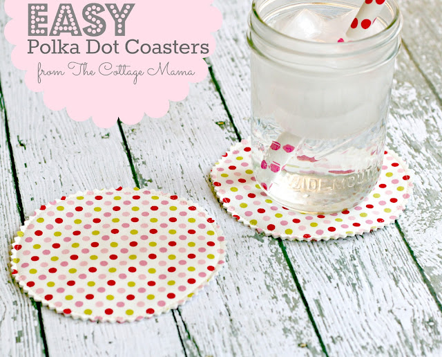 EASY Polka Dot Drink Coasters by the Cottage Mama