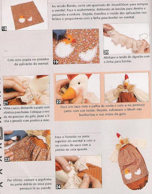 puxa-saco - patchwork - galinha - PAP (diy) com molde