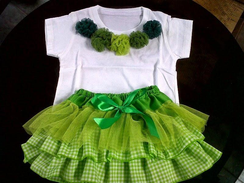 Setelan baju tutu model baru untuk anak perempuan putih hijau