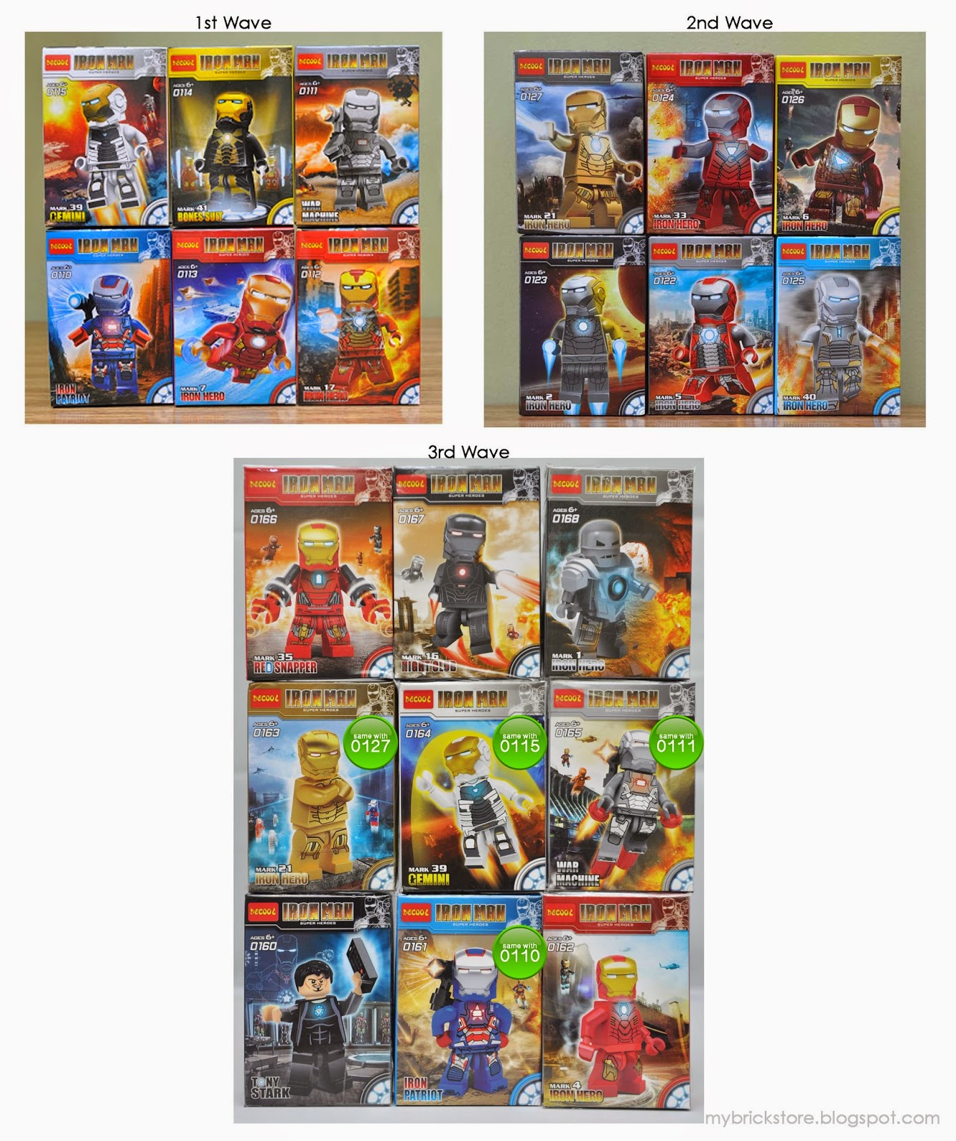 all iron man from this set except mark 1 and tony stark come with extra bricks 4x4 plate and some trans clear 2x1 bricks to make the bootleg iron man 2 starring