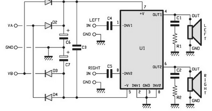 2x15w Stereo Power Amplifier Circuits Based Tda1521