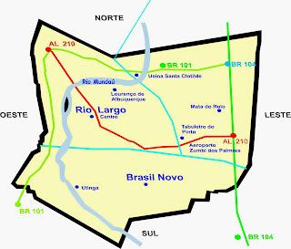 Mapa bairros de Rio Largo