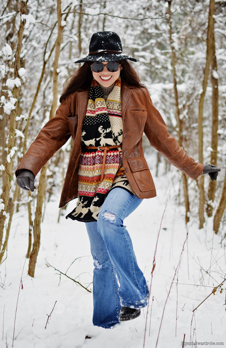 Flared jeans in the snow