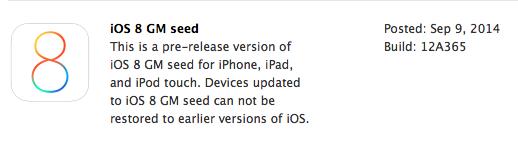 iOS 8 Golden Master