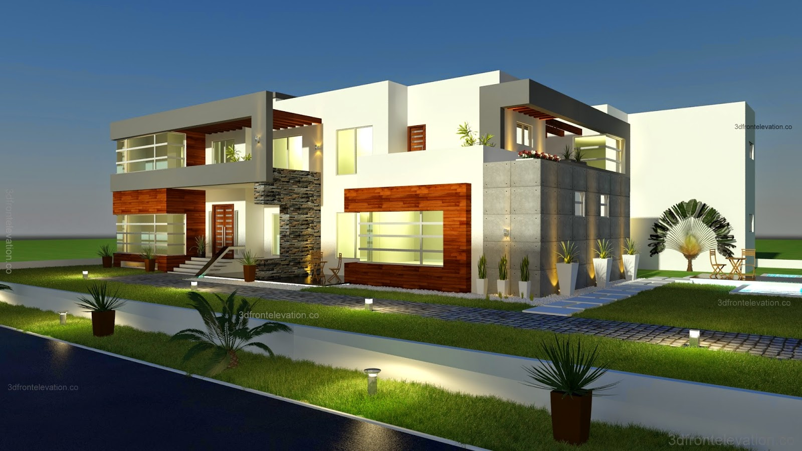 3d front 500 square meter modern for Square house design